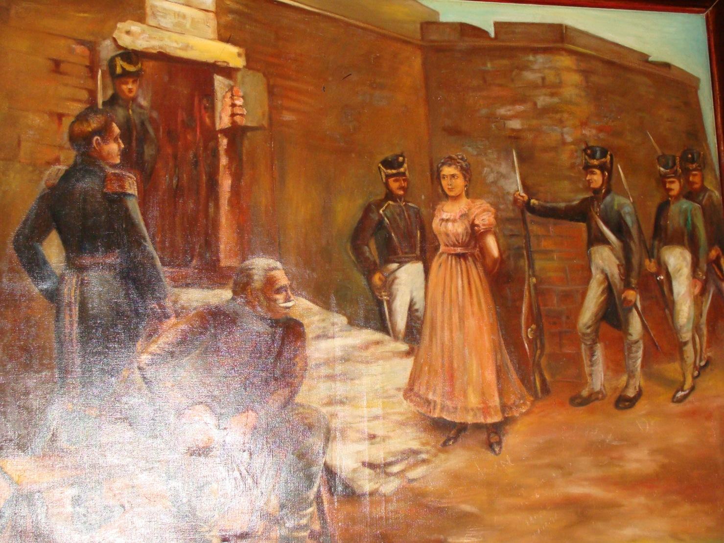 pintura de Luisa Caceres de Arismendi cuando la ponenprisionera